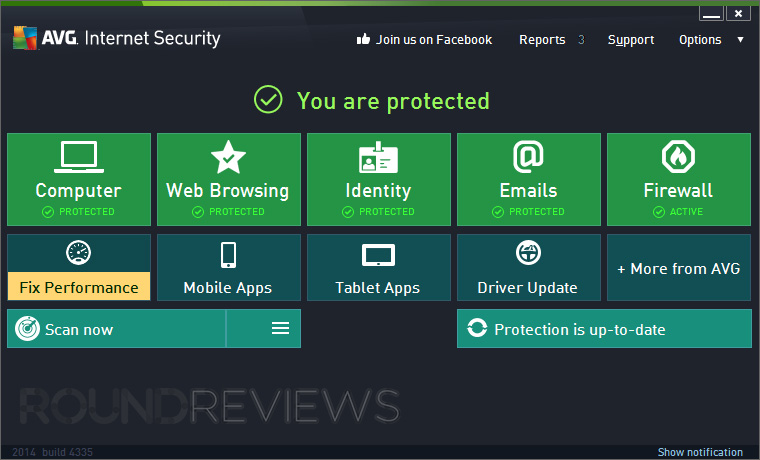 AVG Internet Security 2014 Home Screen
