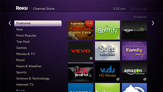 Roku 3 Channel Selection